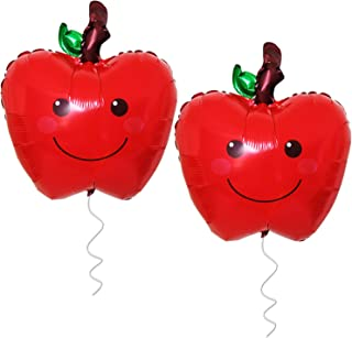 Apple Balloons for Party Decorations - Pack of 2   18 Inchs   Back to School Decorations   Farmers Market Decoration   Fruit Balloons Décor   Apple of our Eye   Fall themed Birthday Party Supplies