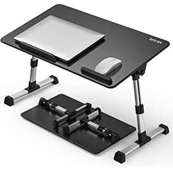 [Large Size] Besign Adjustable Latop Table, Portable Standing Bed Desk, Foldable Sofa Breakfast Tray, Notebook Computer Stand for Reading and Writing – Black