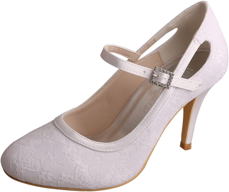 Wedopus MG3031 Women Mary Jane Pumps Closed Toe High Heel Lace Wedding Bridal shoes White