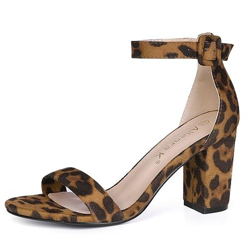86a77f5f7 Allegra K Women's Floral Ankle Strap Block Heel Sandals
