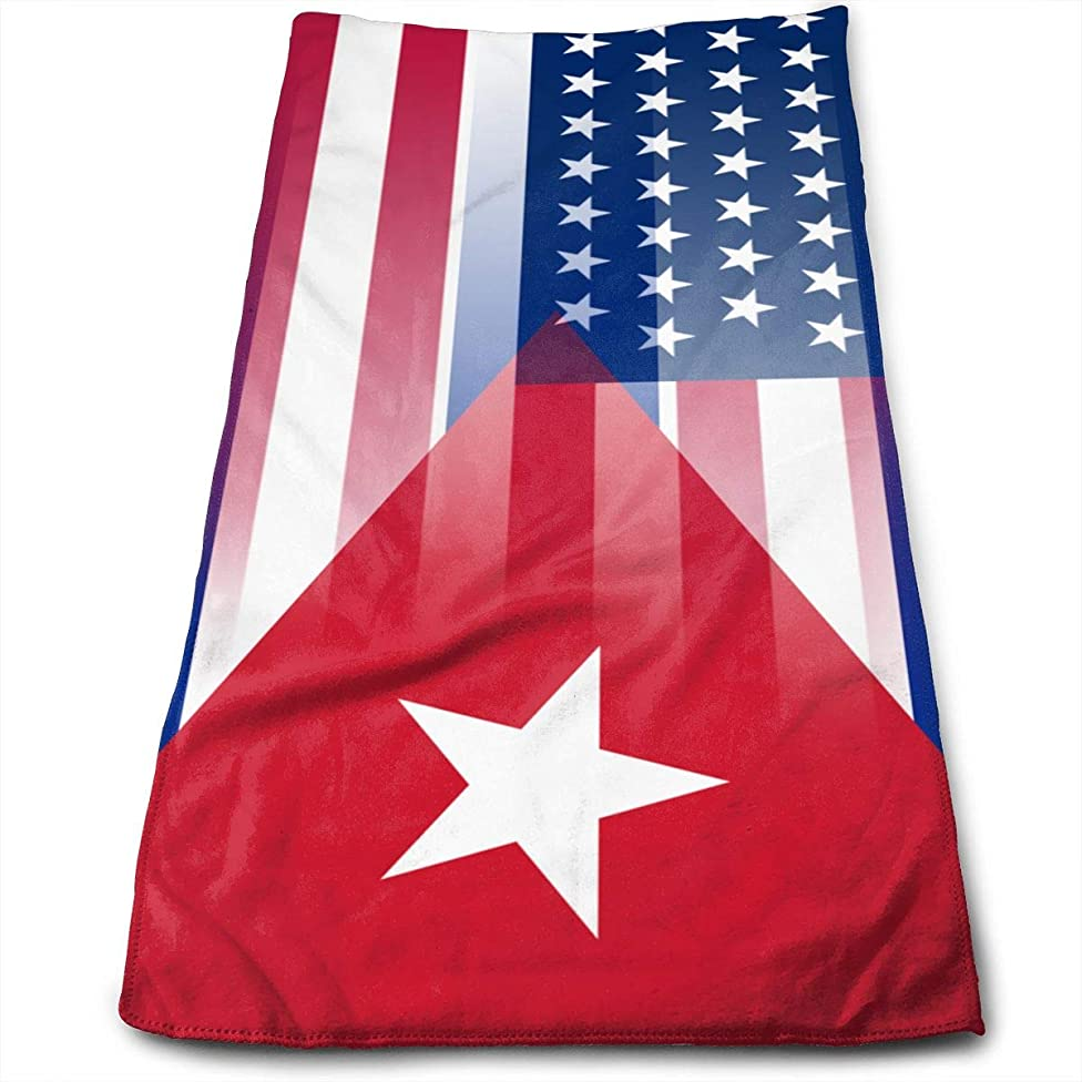 GLing-LIFE USA Cuba Flag Microfiber Multi-Purpose Towel Bath Towels Hand Towels Washcloth Towels Bathroom Towels - Great Shower Towels, Hotel Towels & Gym Towels 12