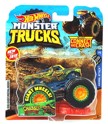 Hot Wheels Monster Trucks Chassis Snapper Animal Attack 1/5 with Connect and Crash Car