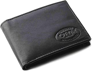 OHM Leather New York Bill Fold Wallet with Coin Holder, One Size, Black