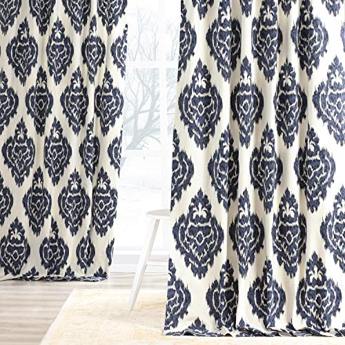 HPD Half Price Drapes PRTW-D24A-96 Printed Cotton Curtain (1 Panel), 50 X 96, Ikat Blue