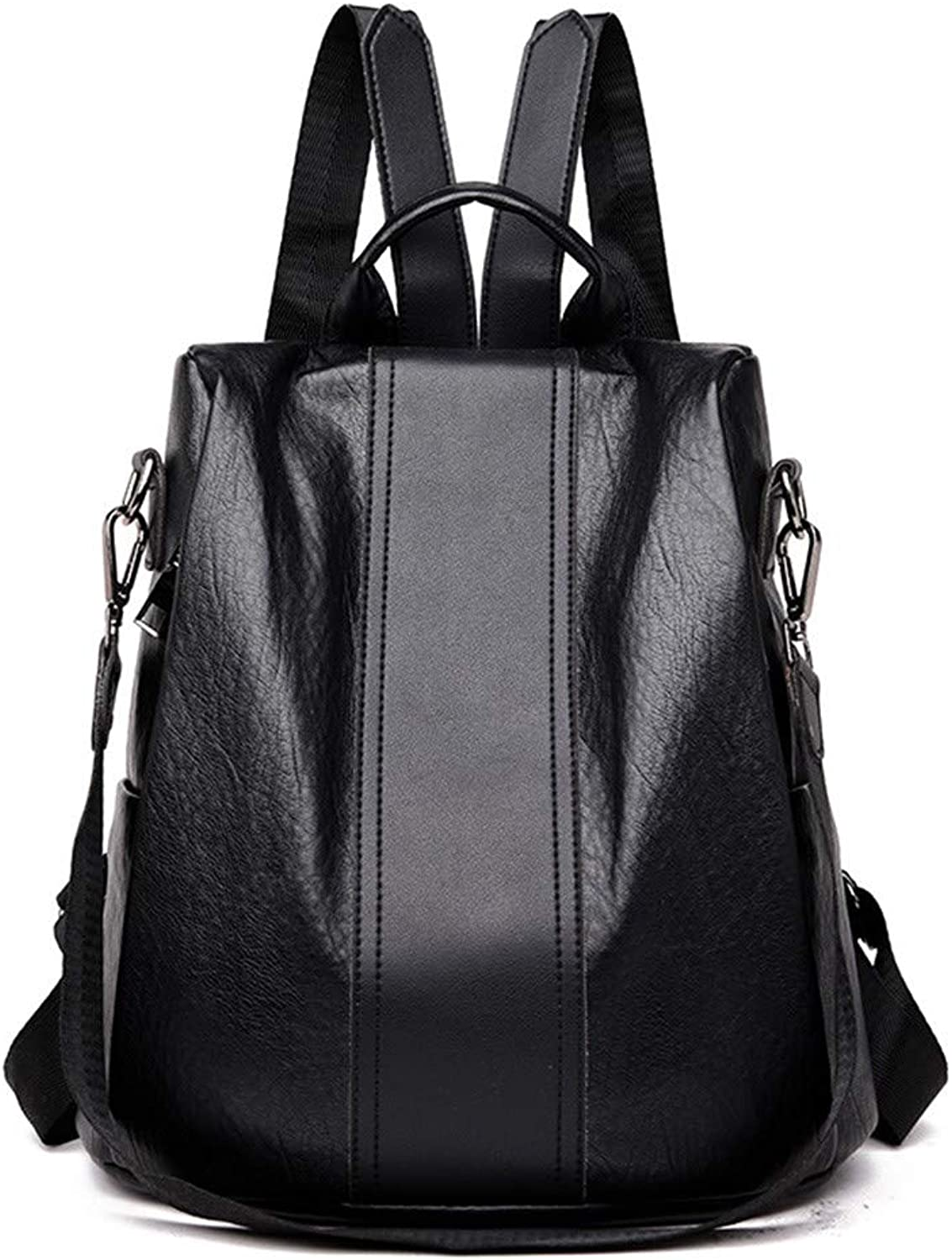 H-M-STUDIO New Simple Soft Leather Korean Version Baitao Fashion Large-Capacity Women's Backpack Black 30  14  32Cm