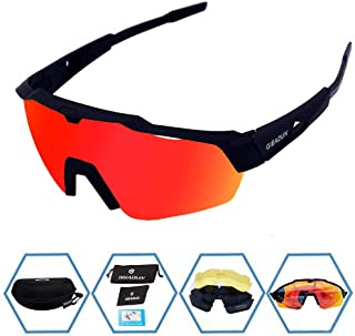 GIEADUN Sports Sunglasses Protection Cycling Glasses with 4 Interchangeable Lenses Polarized UV400 for Cycling, Baseball,Fishing, Ski Running,Golf