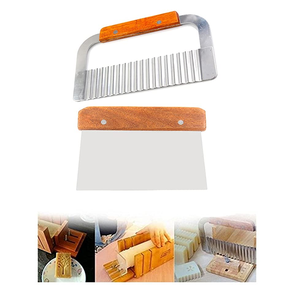 Peicees 2pcs Stainless Steel Wavy & Straight Soap Mold Loaf Cake Cutter Cutting Tools set