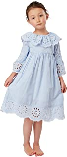 Classic Vintage Cotton Frilly Kids Dress Toddlers Girls Embroidered Hem Ruffle Collar Pinstriped Dress 3-8 Years