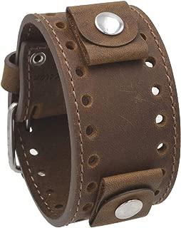 Rev CHO-TM Crazy Horse Leather 20mm -22mm Lug Width Wide Tan Moro Brown Cuff Watch Band