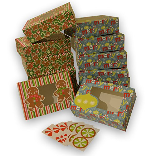 Christmas Cookie gift boxes; rectangular with clear window; colorful paperboard with holiday designs; set of 12 with 12 stickers for sealing (Ornaments & Gingerbread)