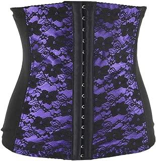 Women Super Stretch Underbust Bustier Lace Floral Corset 3 Hooks Spiral Steel Boned Belt Waist Trainer Plus Size