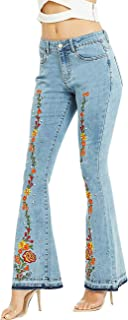ZENTHACE Women's Embroidered Bell Bottom Jeans Stretchy Flare Denim Pants