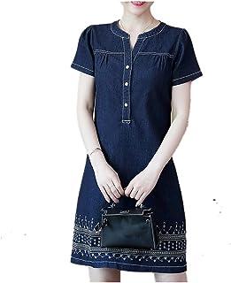 Summer Casual Denim Short Sleeve Swing Dress Loose Party Dress Sonmer Womens V Neck Denim Dress