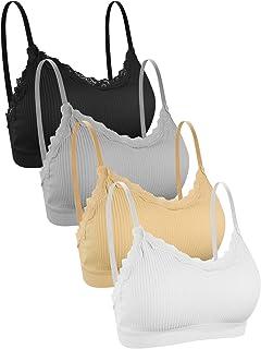 UMIPUBO 4 Piezas de Sujetador de Camisola para Mujer Sujetador de Tubo de Cuello V Banda Sujetador de Dormir Sujetador Dep...