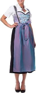 Edelnice Trachtenmode Midi Dirndl 3-TLG. blau lila mit passender Bluse und Schürze Gr. 32-52
