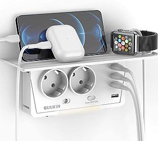 GUUKIN USB Steckdose, 2 Steckdosen2400W mit 4 USB Anschluss 3.1A, 6-in-1 Steckdosenadapter, Mehrfachsteckdose mit Intelligentem Nachtlicht Steckdosenregal