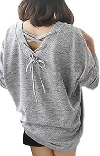 (サニープール)Sunny POOL Ⅴネック ロンT バックリボン 編み上げ 背中開き トップス シンプル チュニック ゆったり 大きいサイズ レディース 2way