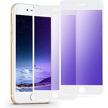 iphone7plus ガラスフィルム 全面 iphone8plus ガラスフィルム ブルーライトカット iphone8プラス ガラスフィルム iphone8plus/7plus 用 フィルム (2枚セット/5.5インチ/ホワイト) 視力を保護/貼り付け簡単/気泡ゼロ/割れない