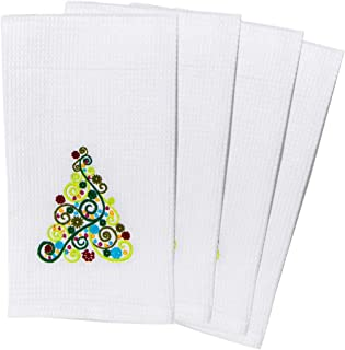 TheLinenBazaar Fine Quality Waffle Weave Kitchen Towels, Decorative Christmas Dish Cloths Set of 4, Super Absorbent, 100% Cotton Tea Towels, 18 by 24 Inch - Christmas Trees