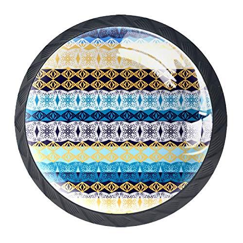 Las manijas de los cajones tiran el vidrio de cristal redondo para el hogar, la cocina, el tocador, el armario, la textura tribal del vector inconsútil