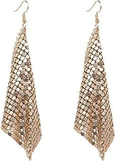 Gold Sequin Earrings Lightweight Metal Mesh Grid Tassel Drop Dangle Earrings Long Hook Earrings Women Girls