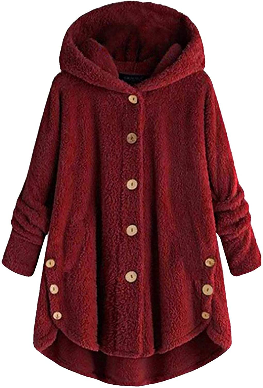 Coupondeal Women Plus Size Button Plush Tops Hooded Loose Cardigan Wool Coat Winter Solid Jacket