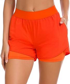 Girls Large Orange 4 Wicking Athletic Sports Shorts