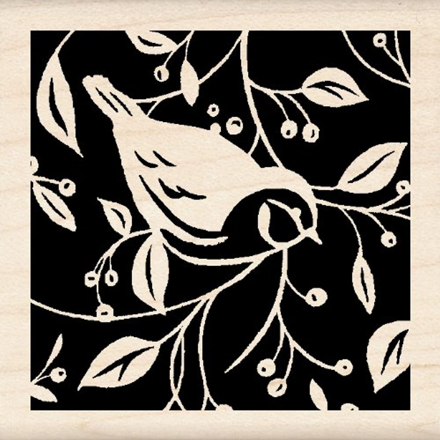 Inkadinkado Wood Stamp, Single Bird Square
