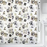 Spirella colección Pose, Cortina de Ducha Textil 180 x 200, 100% Polyester, Multicolor, Tela, Negro/Dorado, x cm