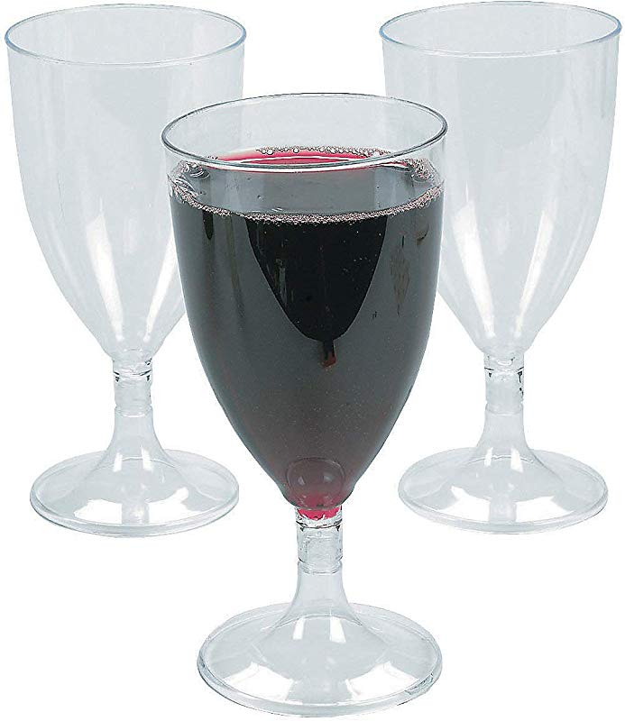 Fun Express Plastic Wine Glasses 25pc Party Supplies Drinkware Disposable Cups 25 Pieces