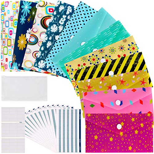 12 Budget Envelopes, Laminated Cash Envelope System for Cash Savings Plus 12 Budget Sheets, 3 Label Stickers & 1 Carry Pouch, Assorted Colors, Tear and Water Resistant
