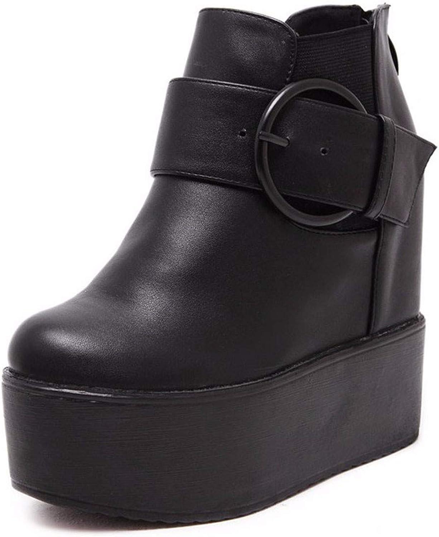 HBDLH Damenschuhe High Heel Kurze Stiefel High - 14 cm Gürtel Steigung Bei Dicken Hintern Hoch Rein Nackt - Stiefel.