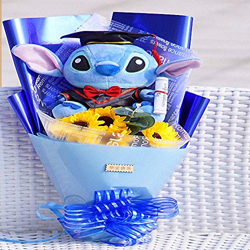 Yuhualiyi123 Una Variedad de muñecas jabón de Flores Girasol Ramo de Regalo de graduación universitaria para Enviar Chicas compañeras de Clase Azul Didi 4 Girasol 1 Paquete