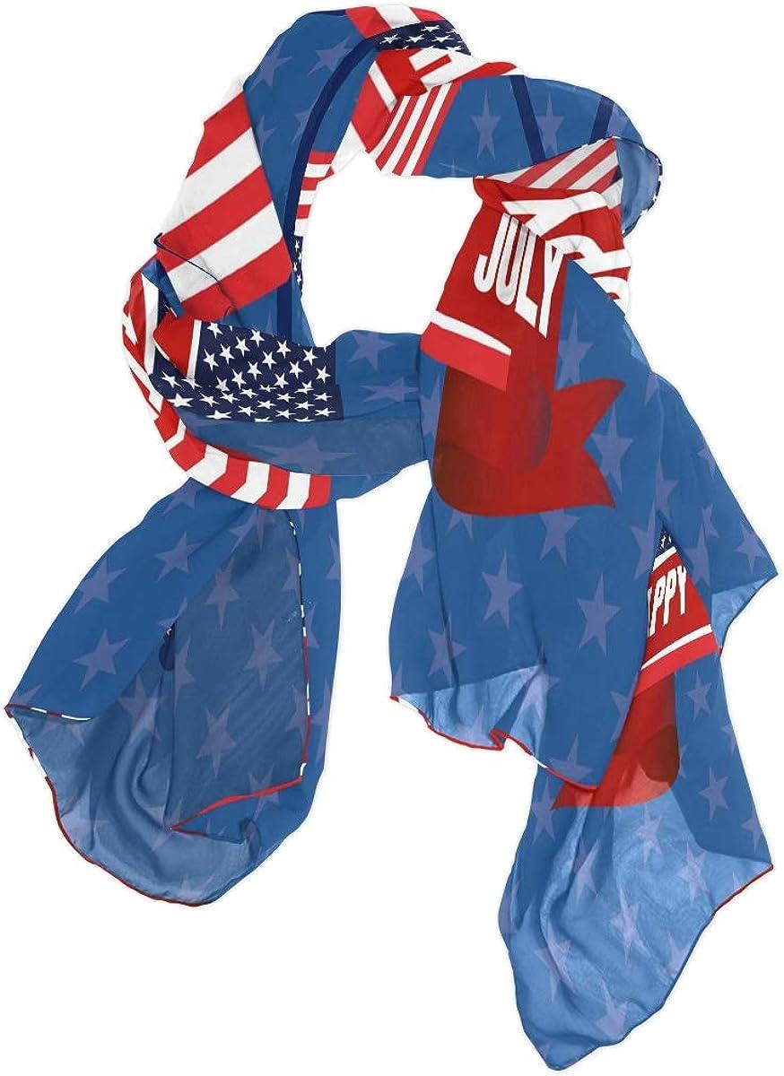 AUUXVA Fashion Scarf Happy 4Th July American Flag Star Long Lightweight Sunscreen Scarf Shawl Wrap Muffler Neckerchief for Women Men