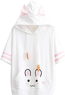 Xmiral Hooded Shirt Vrouwen Kat Oor Leuke Print Korte Mouw Sweatshirt Patchwork Pocket T-Shirt Hoodie