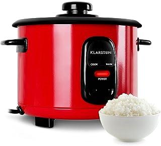 Klarstein Osaka Olla arrocera (500 W, 1,5L, Antiadherente, Apagado automático con función de Mantenimiento en Calor, Tapa de Vidrio, Incluye cucharón y Vaso medidor de arroz) - Rojo