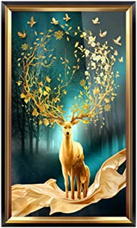 Beautiful Deer Framed Wall Picture, Transparent Organic Glass Cotton Oil Canvas Wall-mounted Photo Frames Decorative, Suit...