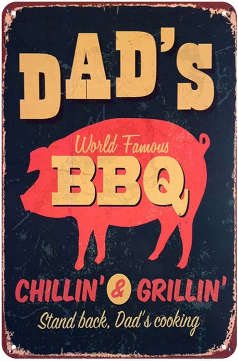 HUOX Dad's BBQ Tin Sign, Bar Pub Diner Barbeque Sign with Red Pig,Vintage Metal Tin Signs for Wall Decor Man Cave Cafes Bars Pubs Shop Wall Decorative for Men Women 12