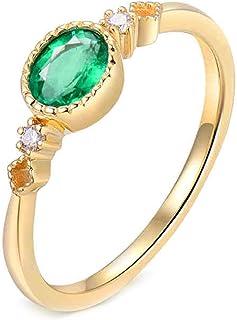 ButiRest - Anello in vero oro giallo 750 18 carati con taglio ovale 0,5 ct verde smeraldo VS e diamante 0,04 ct