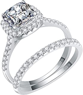 925 Sterling Silver Rhodium Plated with Cushion Cut AAA CZ Bridal Ring 2 Pieces Sets for Women Size 6-9