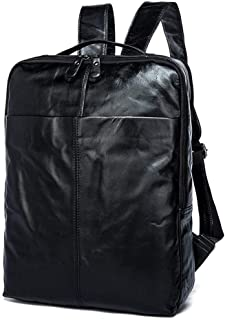 WENQU Men's Leather Travel Bag Magnanimous Capacity Cowhide Fashion Daily Laptop Bag Backpack (Color : Black, Size : S)
