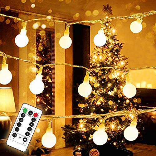 Lamantt LED String Lights, 19.7ft 50 LED Globe Lights Waterproof Battery Operated Warm White Fairy Light for Indoor Outdoor Party Living Room Bedroom Garden