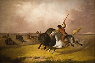 Real Hand Painted Buffalo Hunt on the Southwestern Prairies Canvas Oil Painting for Home Wall Art Decoration, Not a Print/ Giclee/ Poster, FRAMED, Ready to Hang