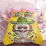 Hiiiman - Juego de funda de edredón con cremallera, diseño de calavera mexicana de azúcar con tacos y chile pimienta, 2 de noviembre, estampado colorido (3 piezas, tamaño doble) 2 fundas de almohada