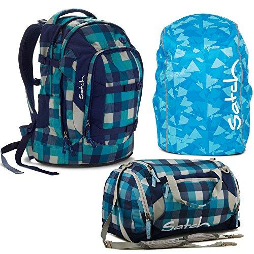 satch by Ergobag Blister 3-teiliges Set Rucksack, Sporttasche & Regenhaube Blau