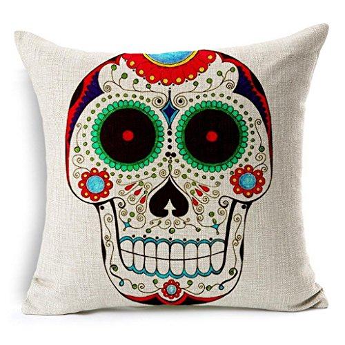 Fondo Vintage 18'x 18' Colorful azúcar calavera mexicana para el día de los muertos lino manta almohada Funda de cojín