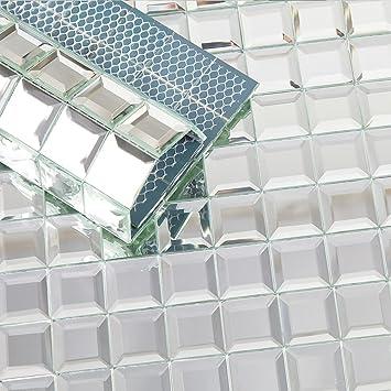 Soulscrafts Beveled Crystal Mirror Glass Mosaic Tile Crystal Diamond Mosaic Tile 12x12 Inch For Kitchen Backsplash Bathroom Silver 5 Sheets Amazon Com