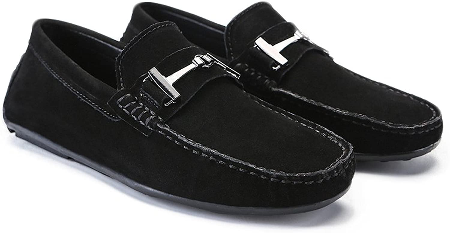 Men's Driving Loafers Suede Genuine Leather Penny Moccasins Studs Sole with Metal Button Decor Cricket shoes