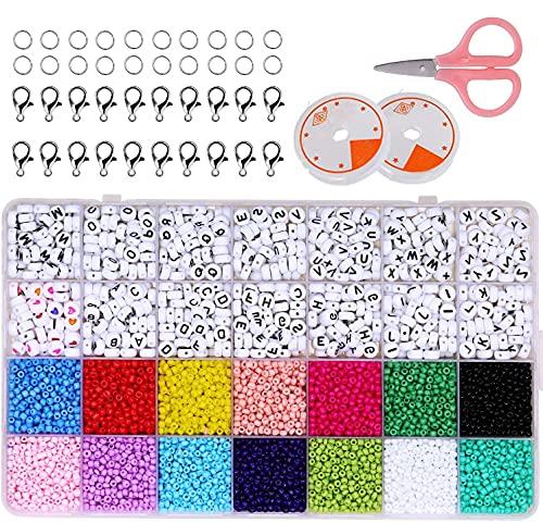 Abalorios para Hacer Pulseras,Cuentas de Colores,3mm Mini Cuentas y Abalorios Cristal,con Alfabeto Redondo Cuentas y herramienta de abalorios, para DIY Pulseras Collares Bisutería Regalo