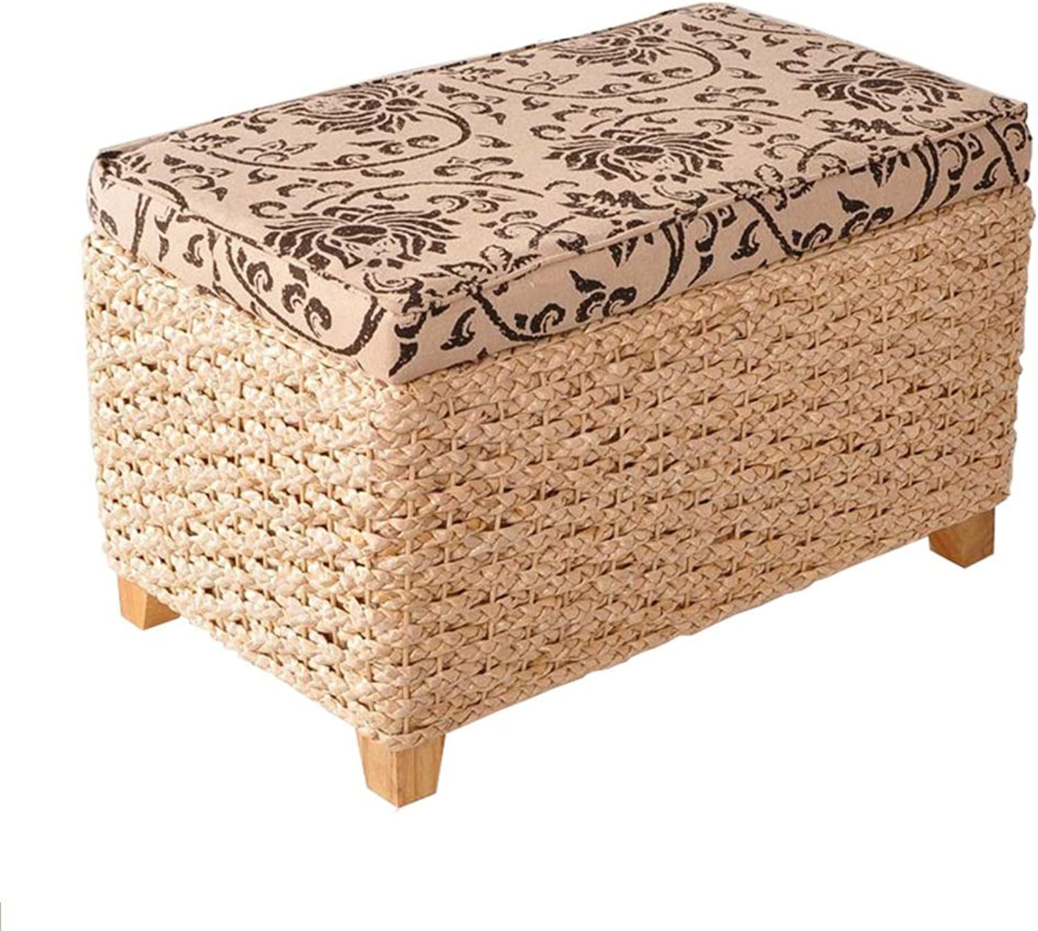 Storage Stool shoes Bench Hand-Woven Rectangular Multi-Function Makeup Stool